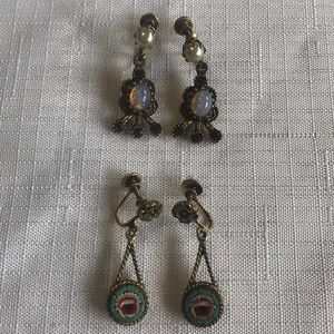 2 Pair of Vintage Screw On Earrings